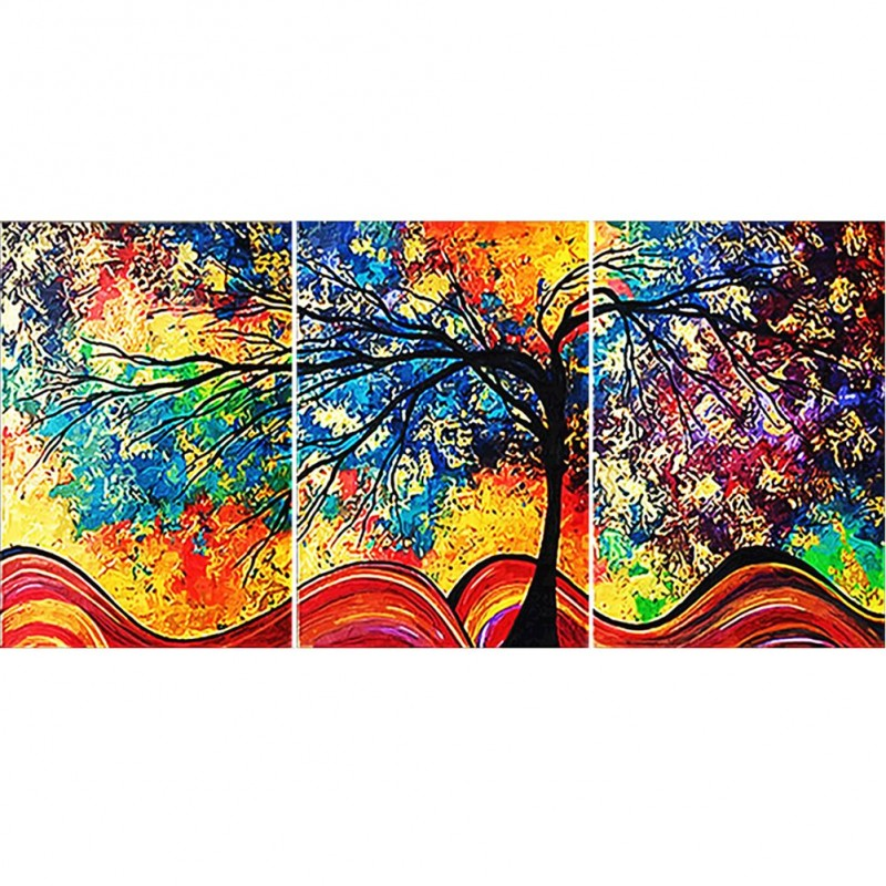 3 Panels Colorful Tr...